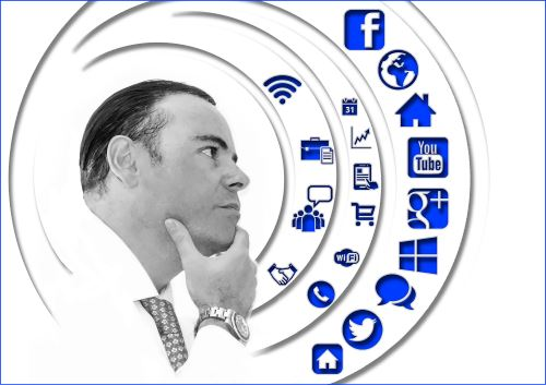 Business Person thinking about Online Marketing and Internet Marketing Services